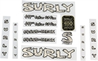 Surly Cross Check Frame Decal Set with Headbadge: Black/MilkFat