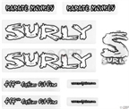 Surly Karate Monkey Frame Decal Set with Headbadge: White